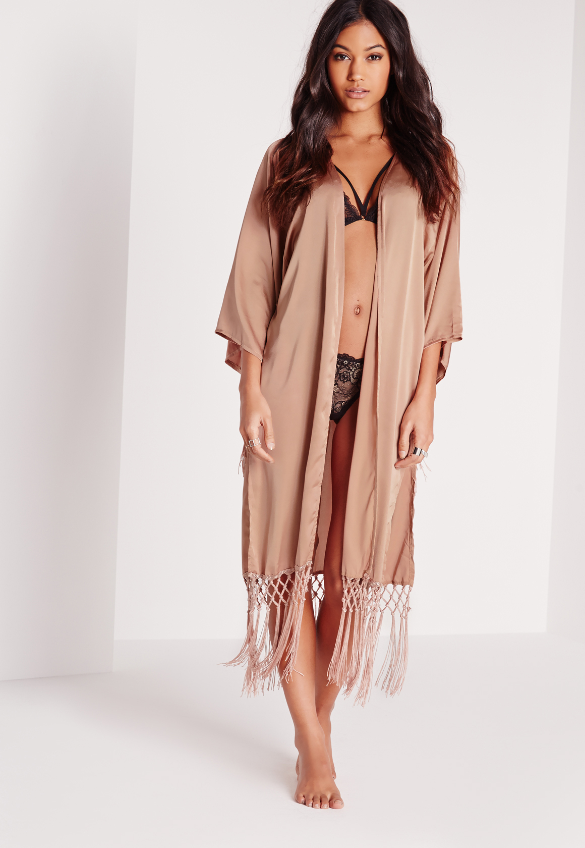 Missguided Luxe Tassel Satin Dressing Gown Nude in Brown - Lyst