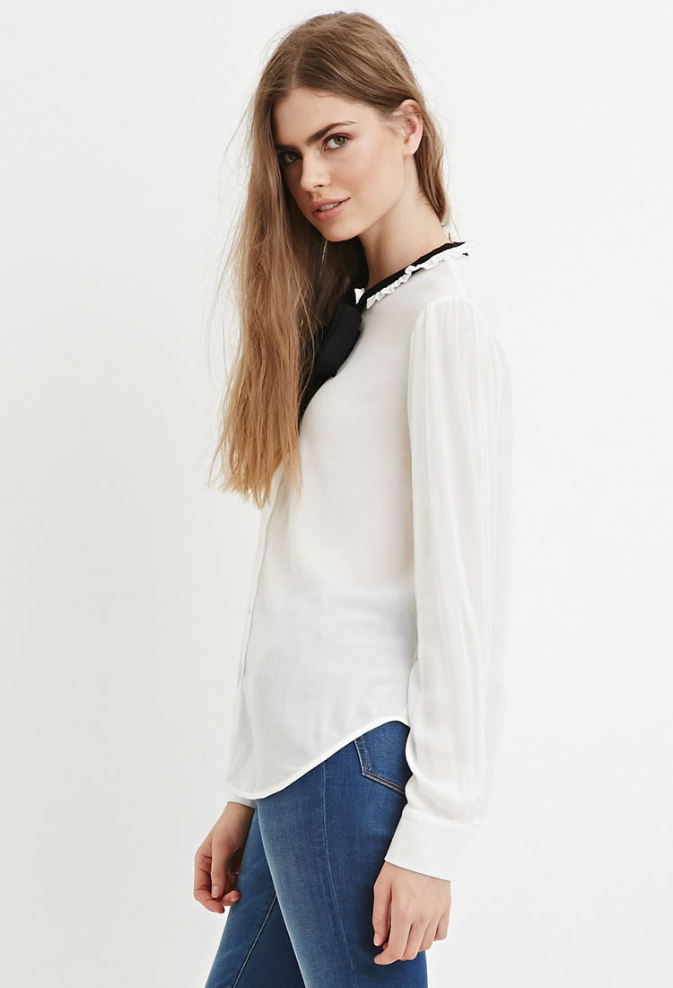 White Blouse With Black Bow Forever 21 Anlis