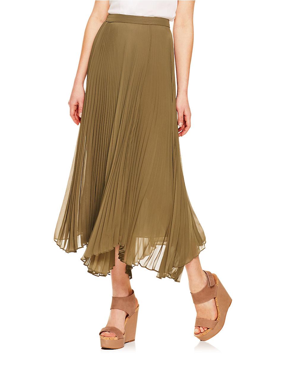 vince camuto green pleated asymmetrical midi skirt lyst