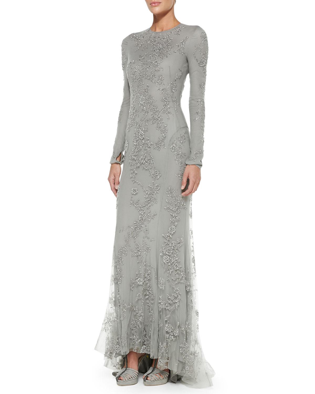Lyst Ralph Lauren Collection Longsleeve Beaded Evening Gown In Gray