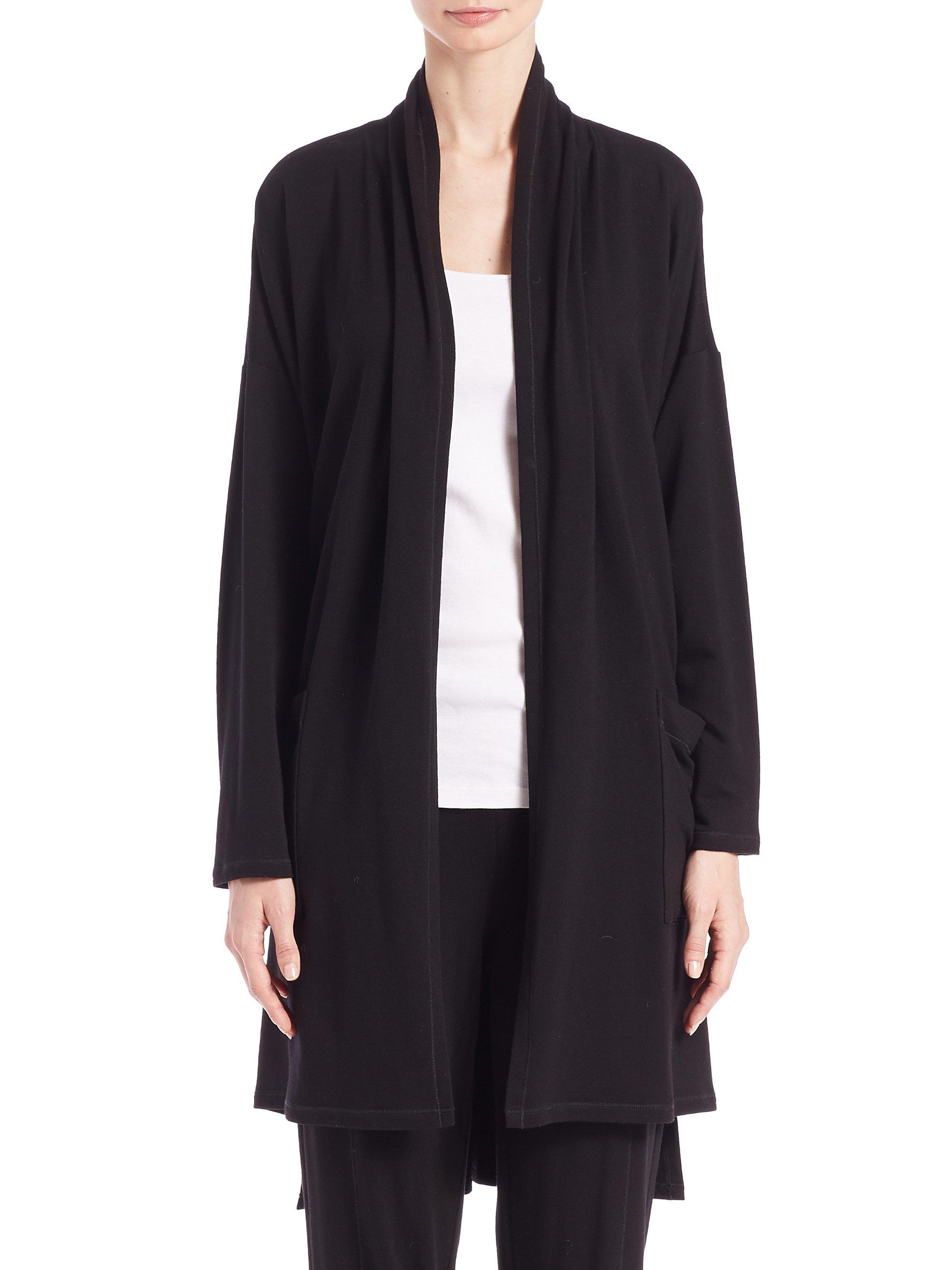 Eileen fisher Tencel Sweatshirt Cardigan in Black | Lyst