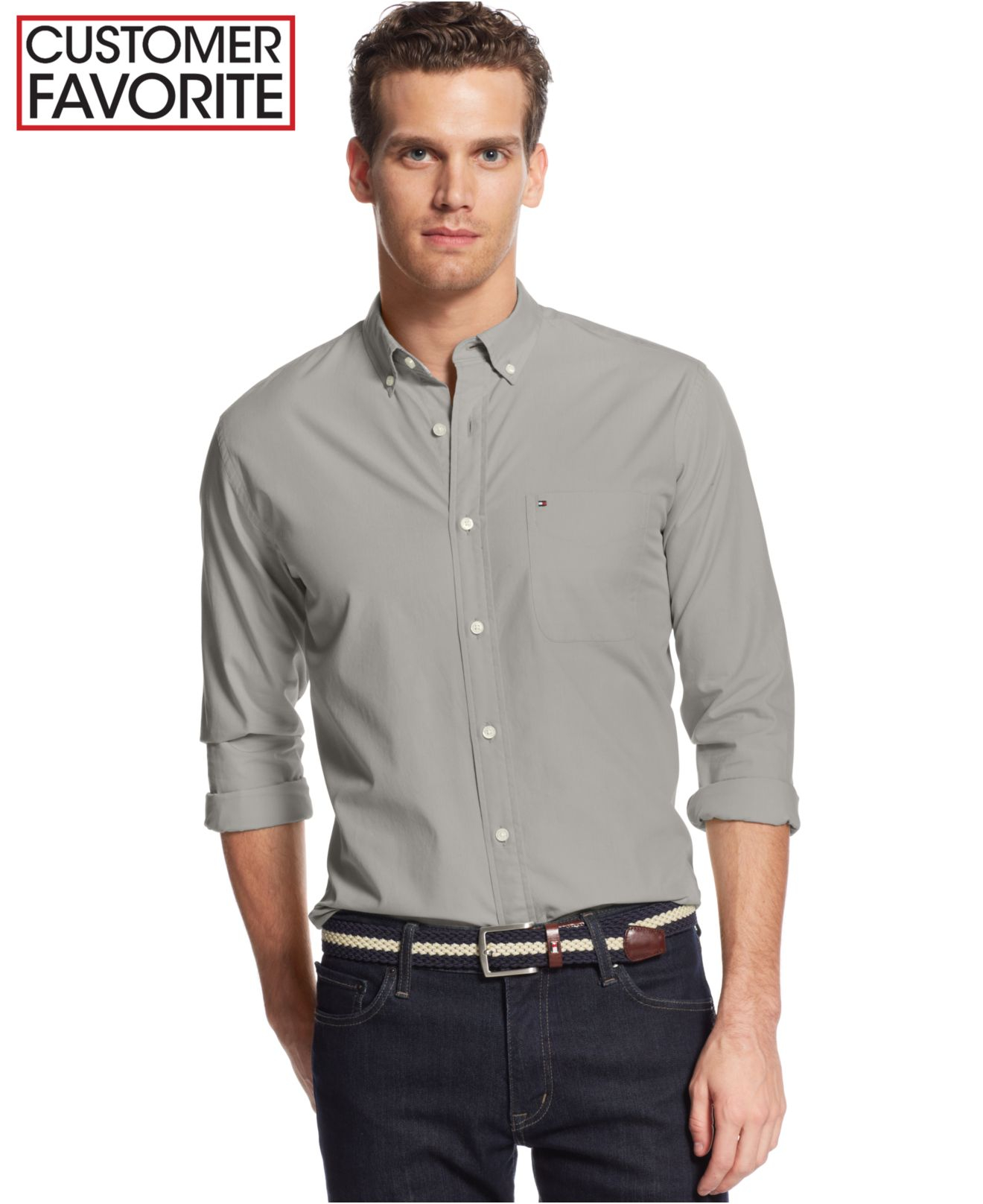 Tommy Hilfiger Wells Solid Classic Fit Shirt In Gray For