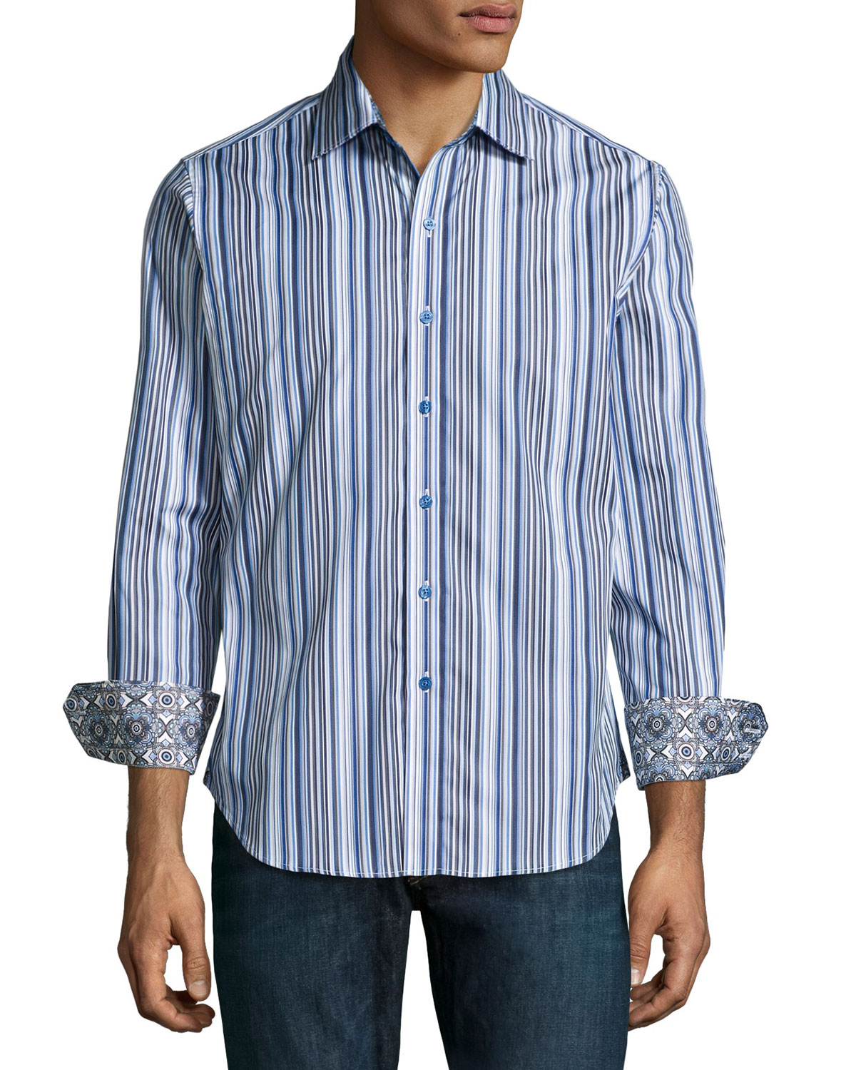 Robert graham planet rock striped sport shirt in blue for for Where are robert graham shirts made