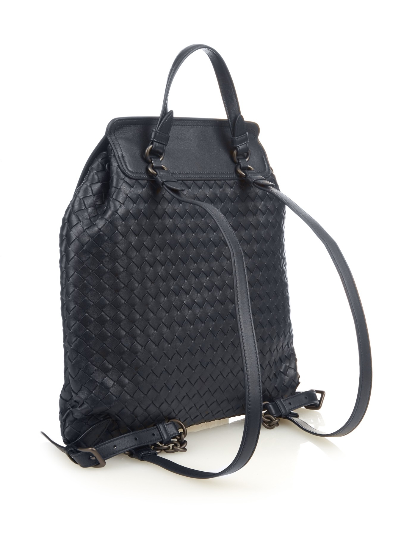 977f89a752 Lyst - Bottega Veneta Intrecciato Leather Backpack in Blue