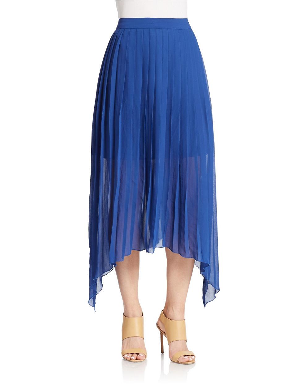 kensie pleated sheer skirt in blue lyst