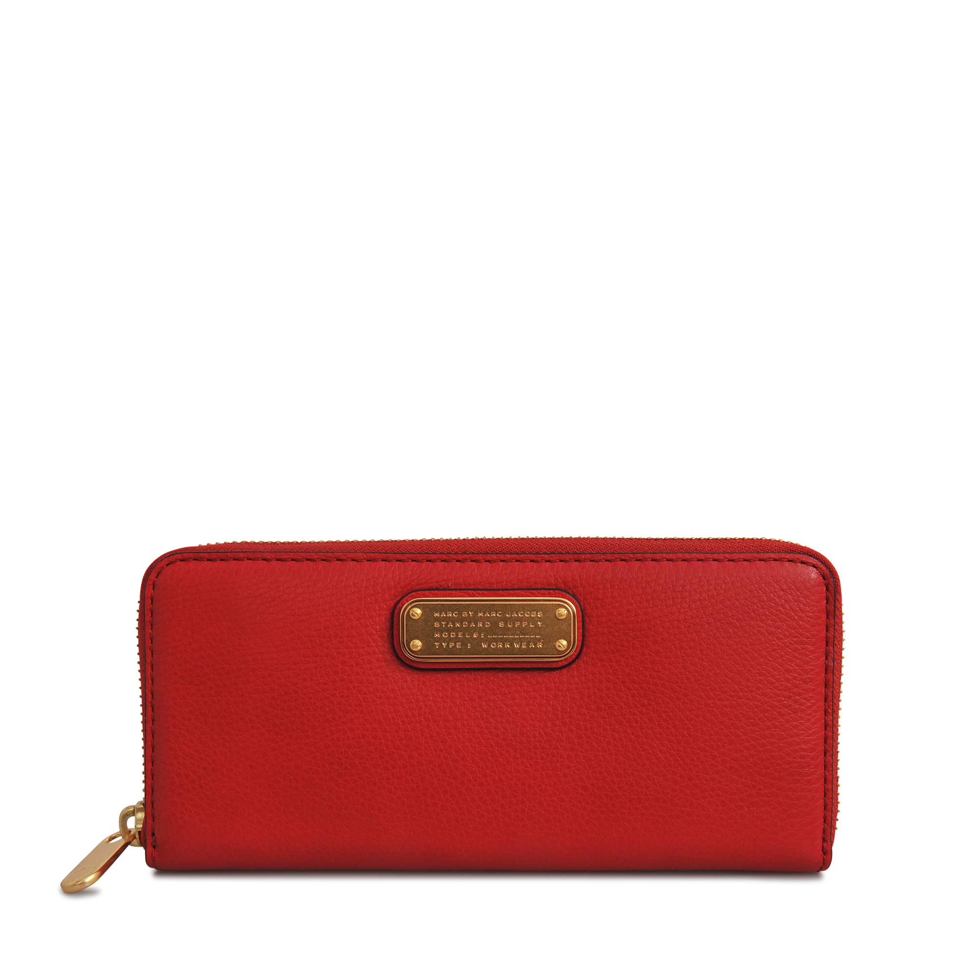 Red #M0006578 Marc By Marc Jacobs Red Canyon Leather Slim Wallet