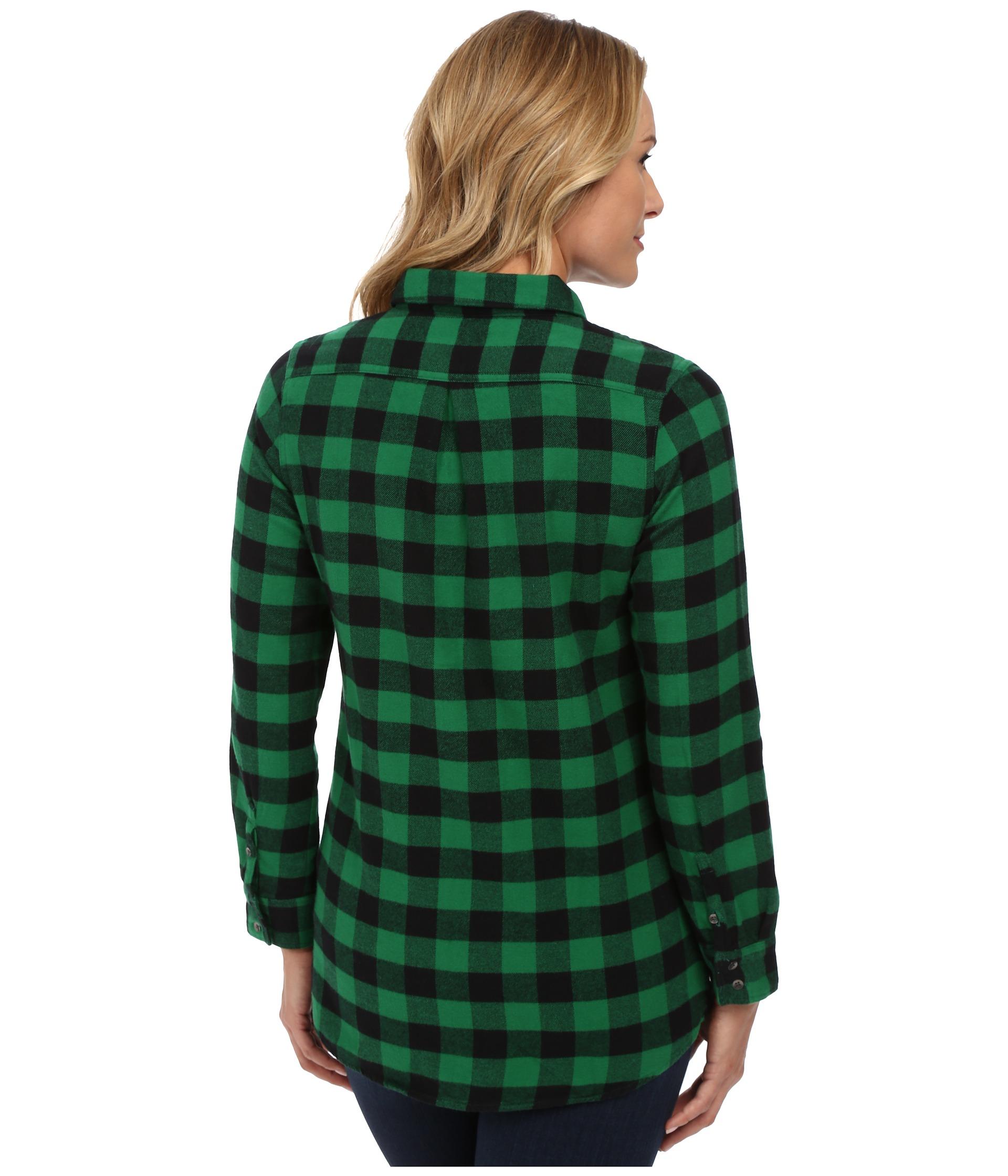 Lyst woolrich buffalo check boyfriend shirt in green for Buffalo check flannel shirt jacket