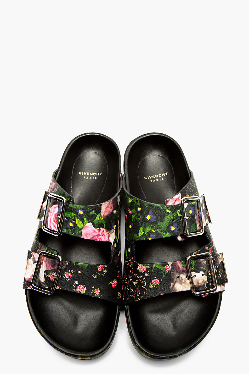 Lyst - Givenchy Black Leather Floral Print Casual Sandals ...