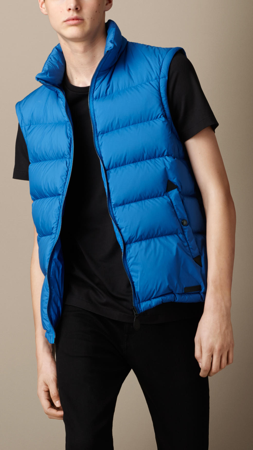 31cb208af953 Lyst - Burberry Puffer Jacket With Removable Sleeves in Blue for Men