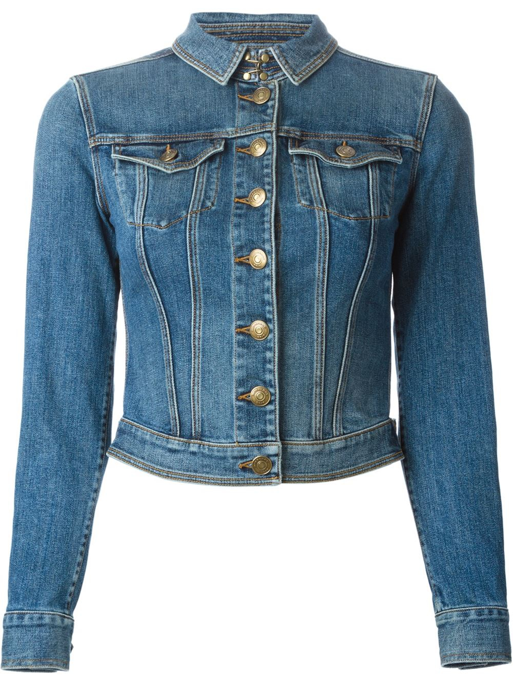 Lyst Burberry Brit Cropped Denim Jacket In Blue