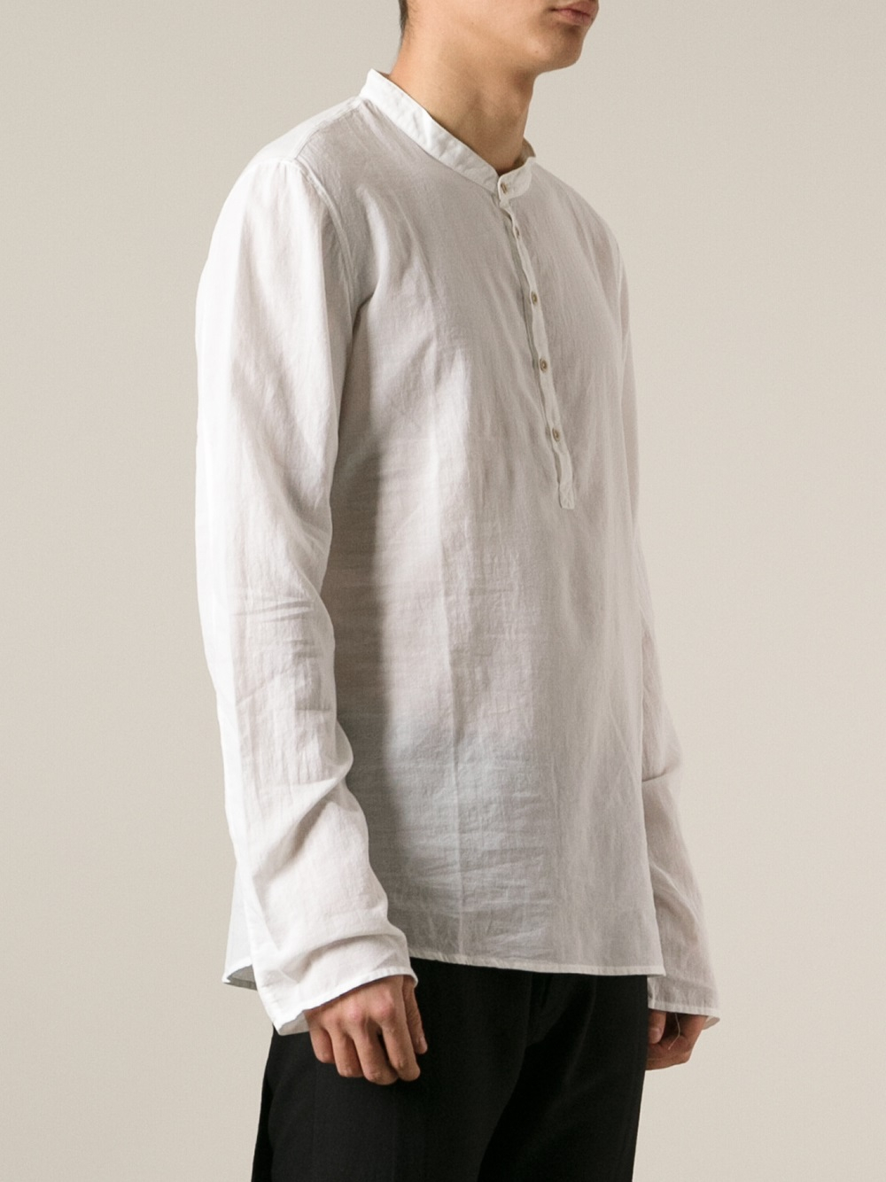 Lyst Poeme Bohemien Kaftan Style Shirt In White For Men
