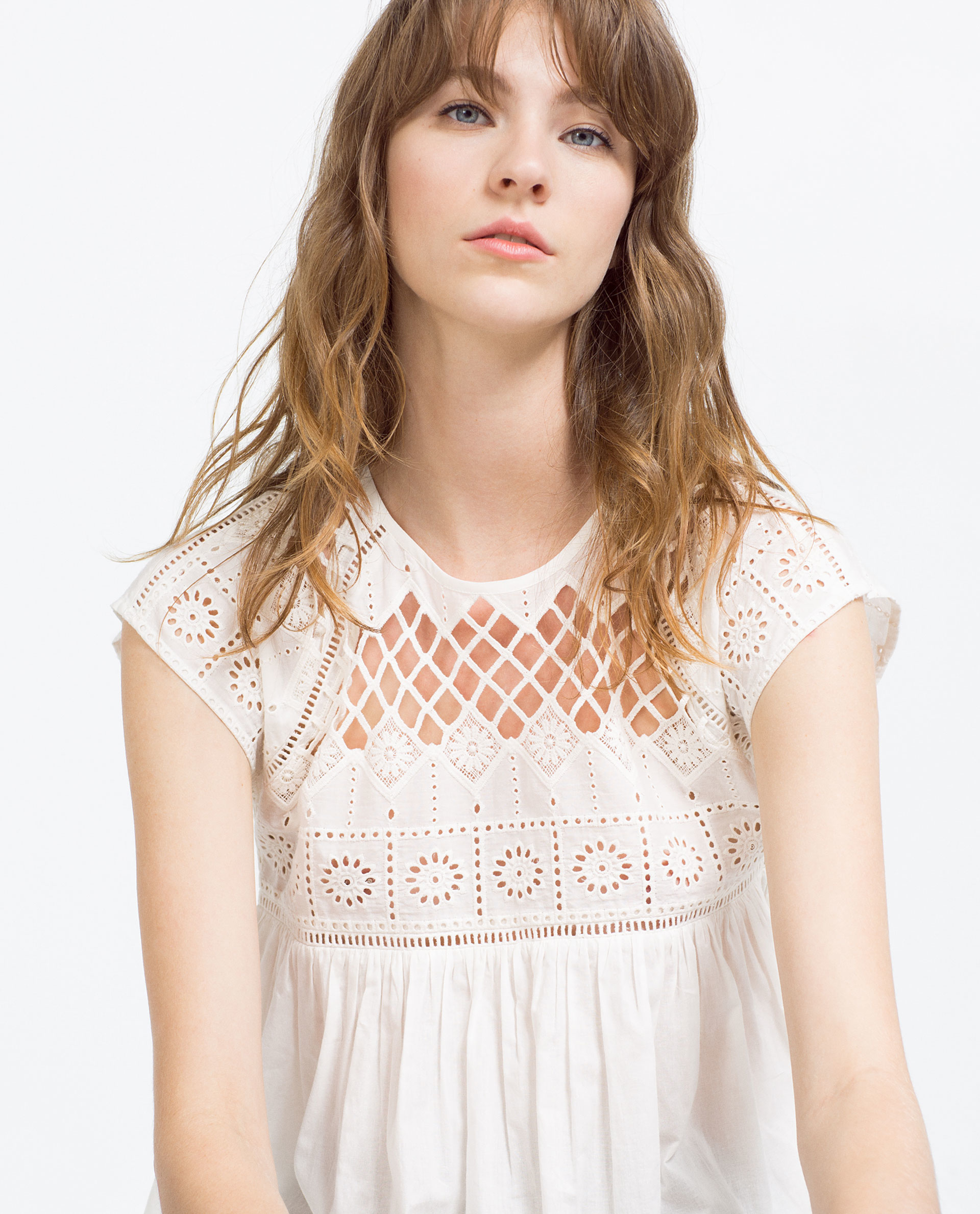 Zara embroidered top in white lyst
