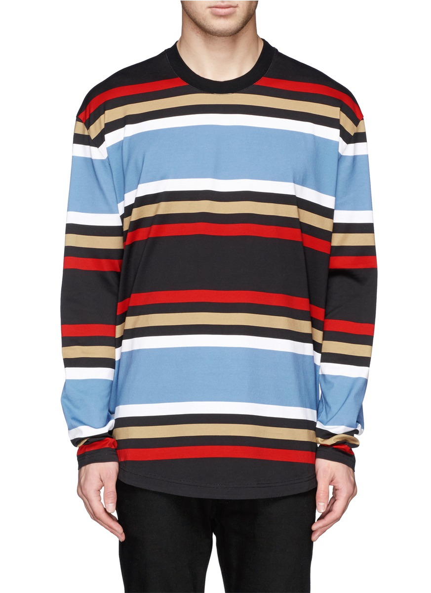 Lyst givenchy stripe long sleeve t shirt for men for Mens striped long sleeve t shirt