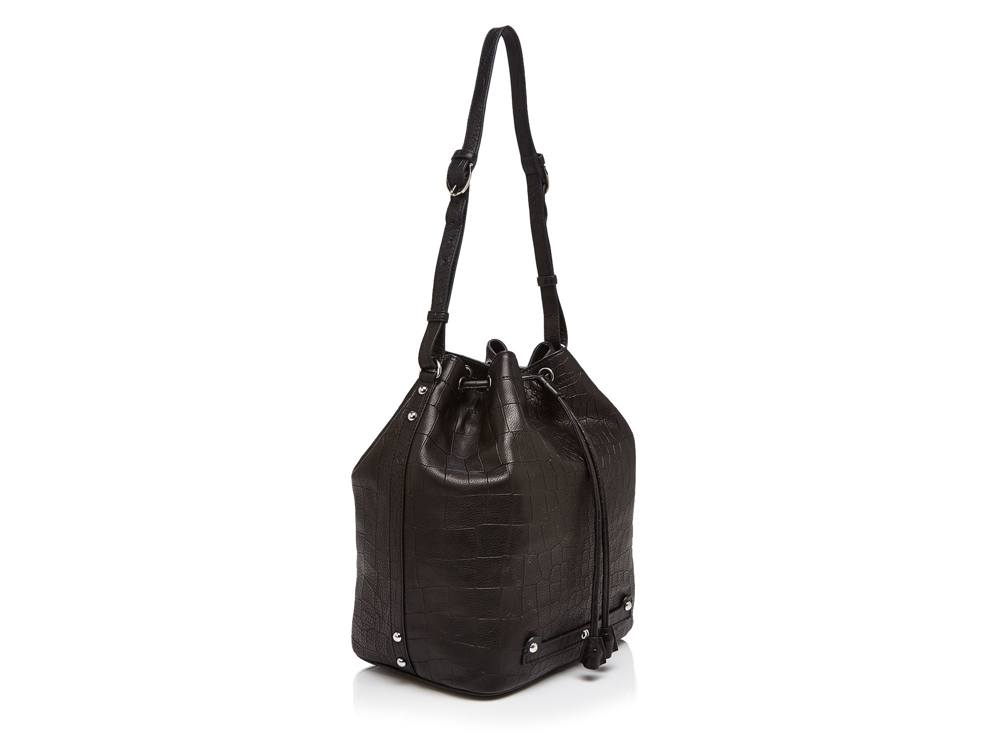 Lyst - Etienne Aigner Large Etienne Croc-embossed Bucket Bag in Black 122867a32d