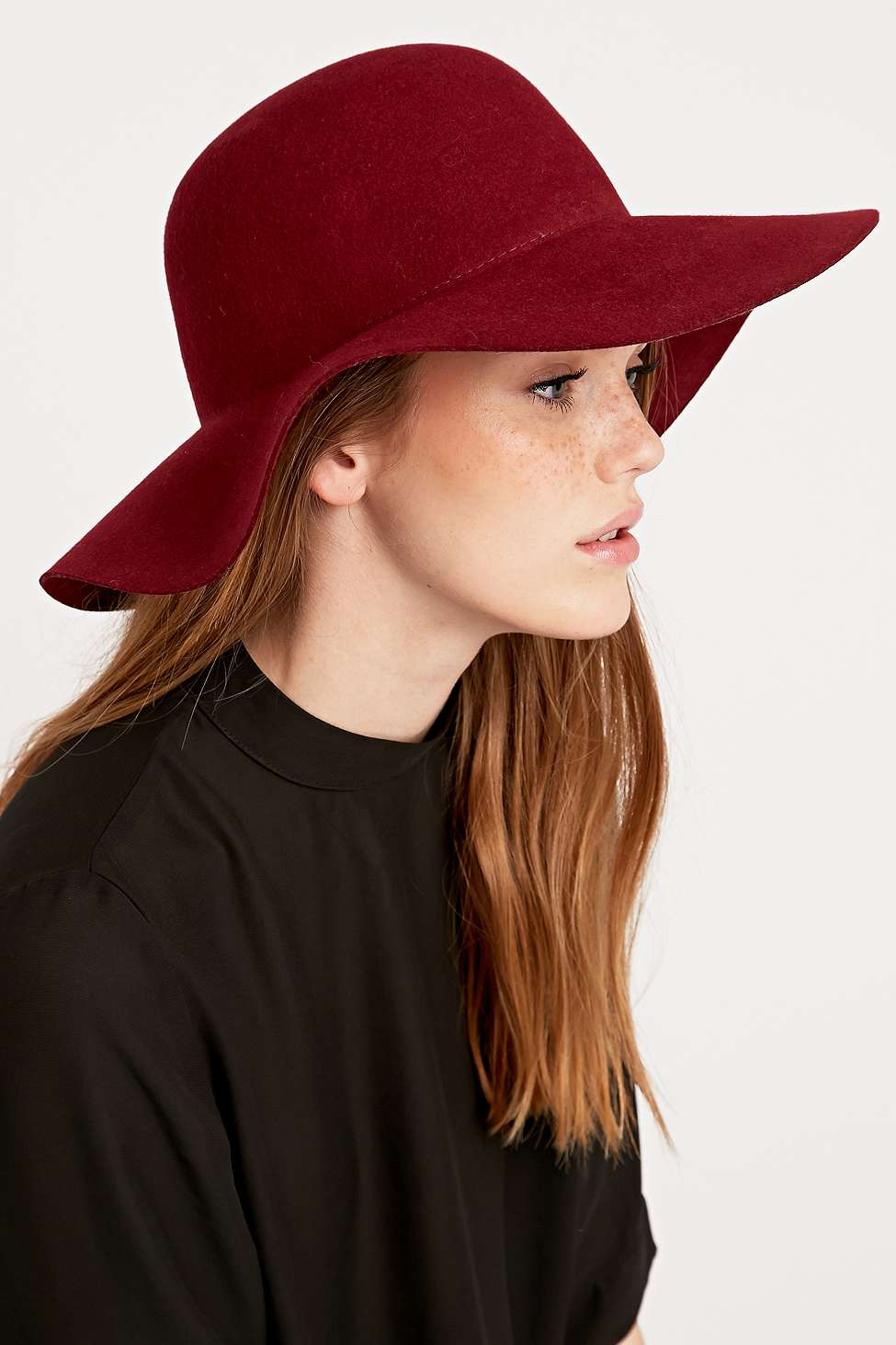 Urban Outfitters Mia Felt Floppy Hat In Burgundy in Red - Lyst ccc34c76fa0f