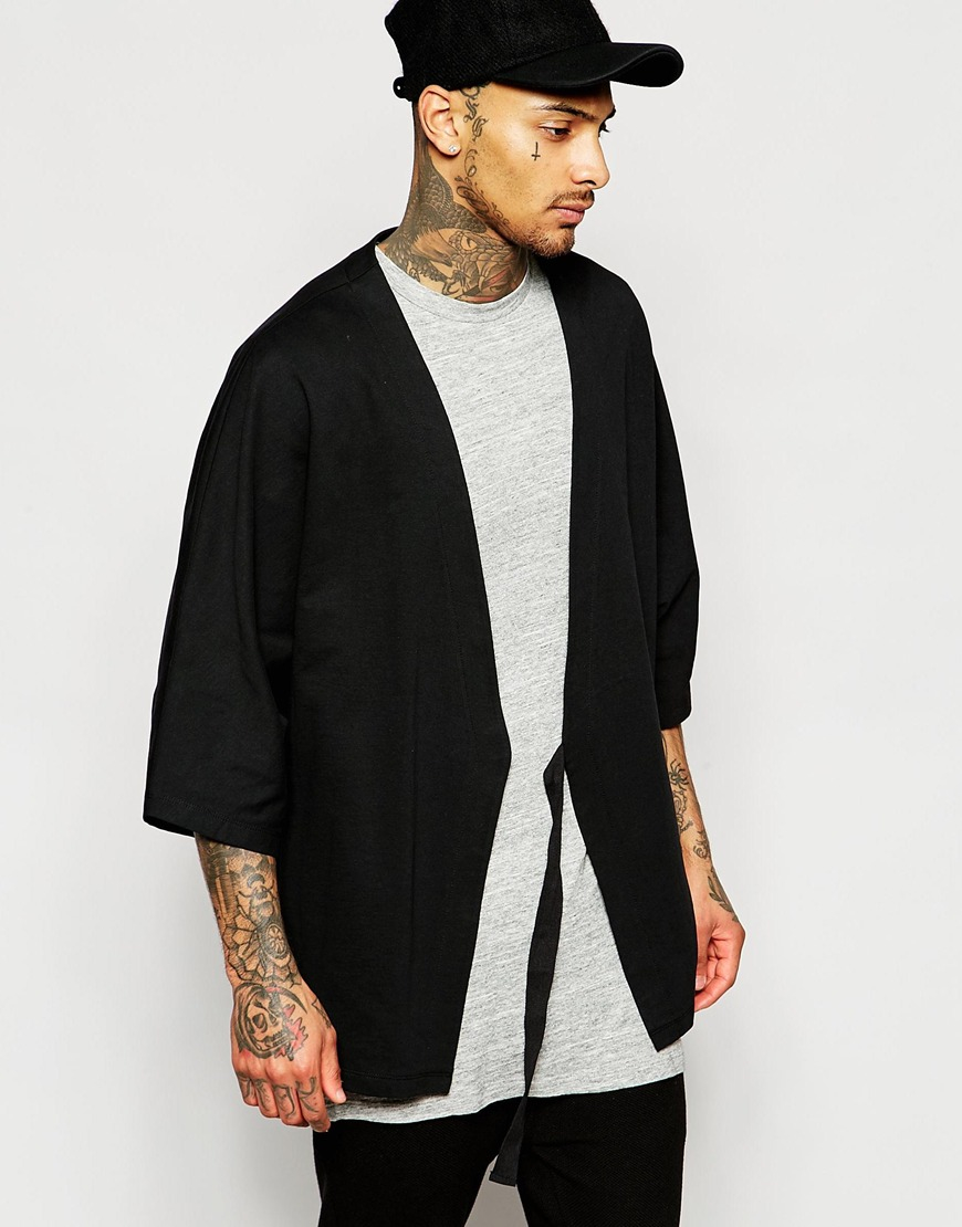 Asos Kimono Cardigan With Belt - Black in Black for Men | Lyst