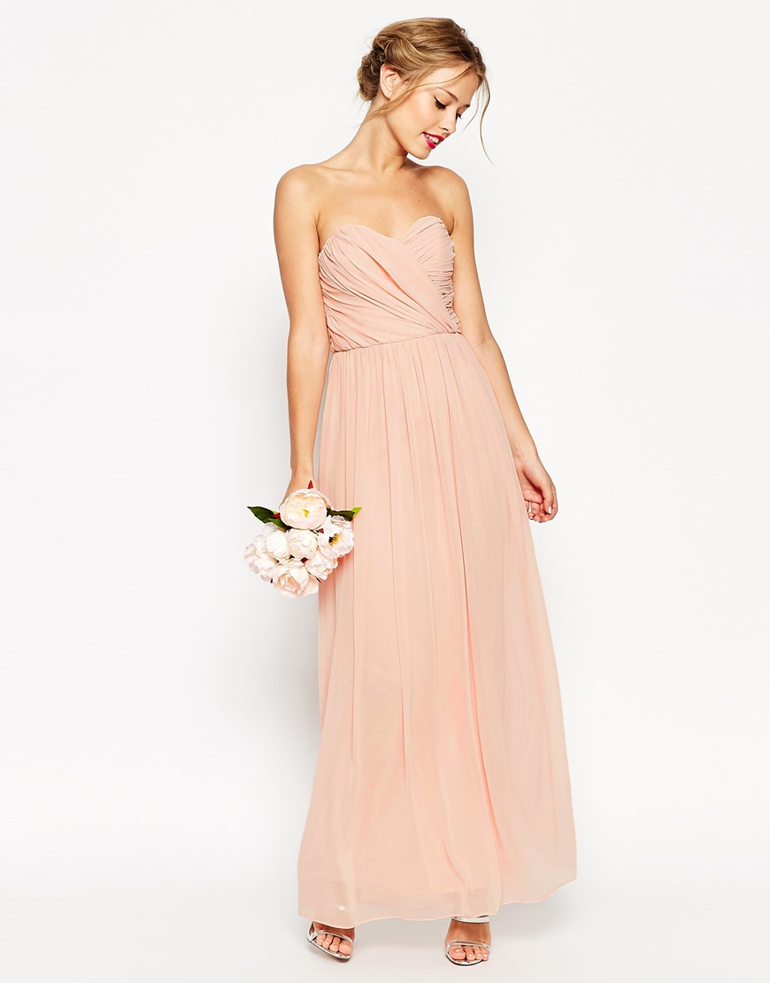Asos wedding bandeau maxi dress in natural lyst for Navy maxi dresses for weddings