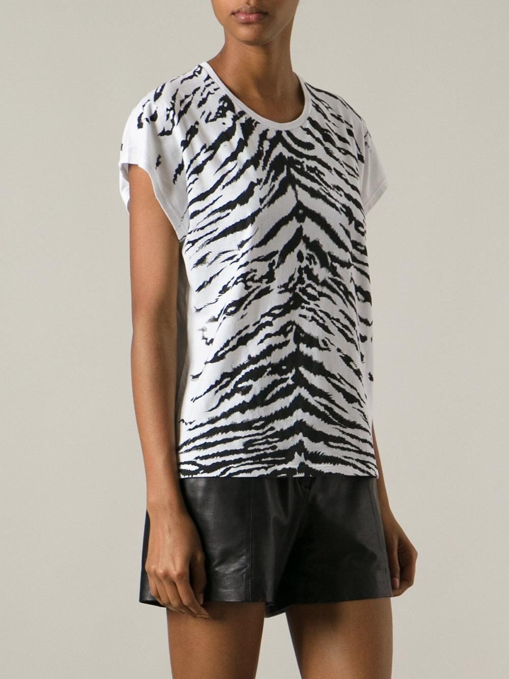 Saint laurent tiger print t shirt in white lyst for Saint laurent t shirt