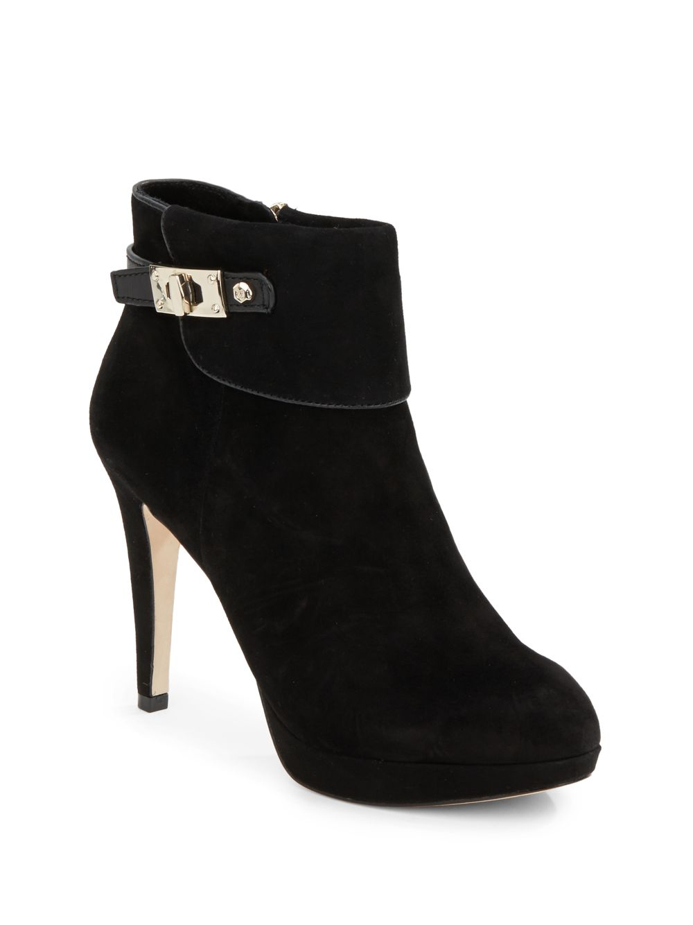 vince camuto signature evalina suede ankle boots in black