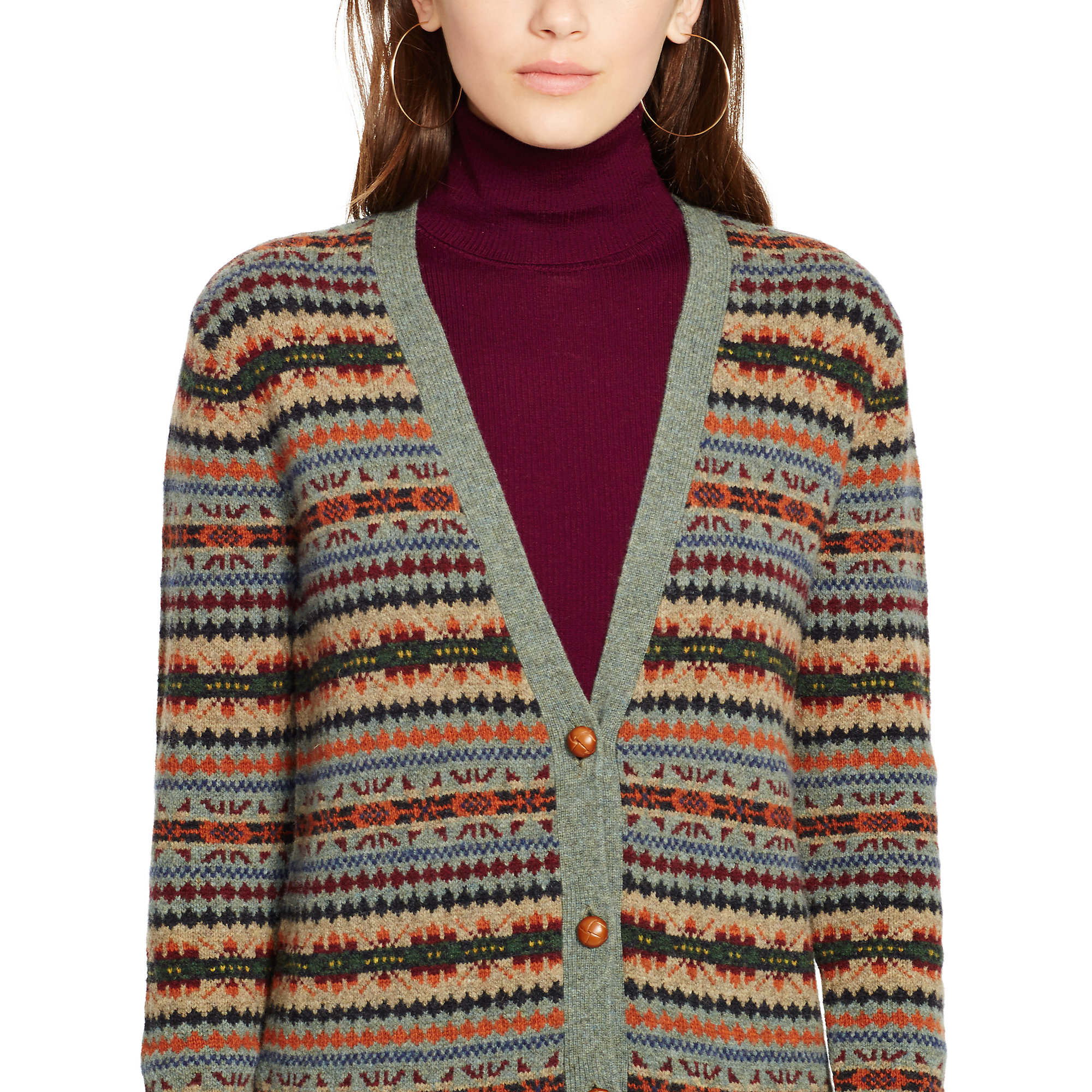 Polo ralph lauren Fair Isle Wool Cardigan in Green | Lyst