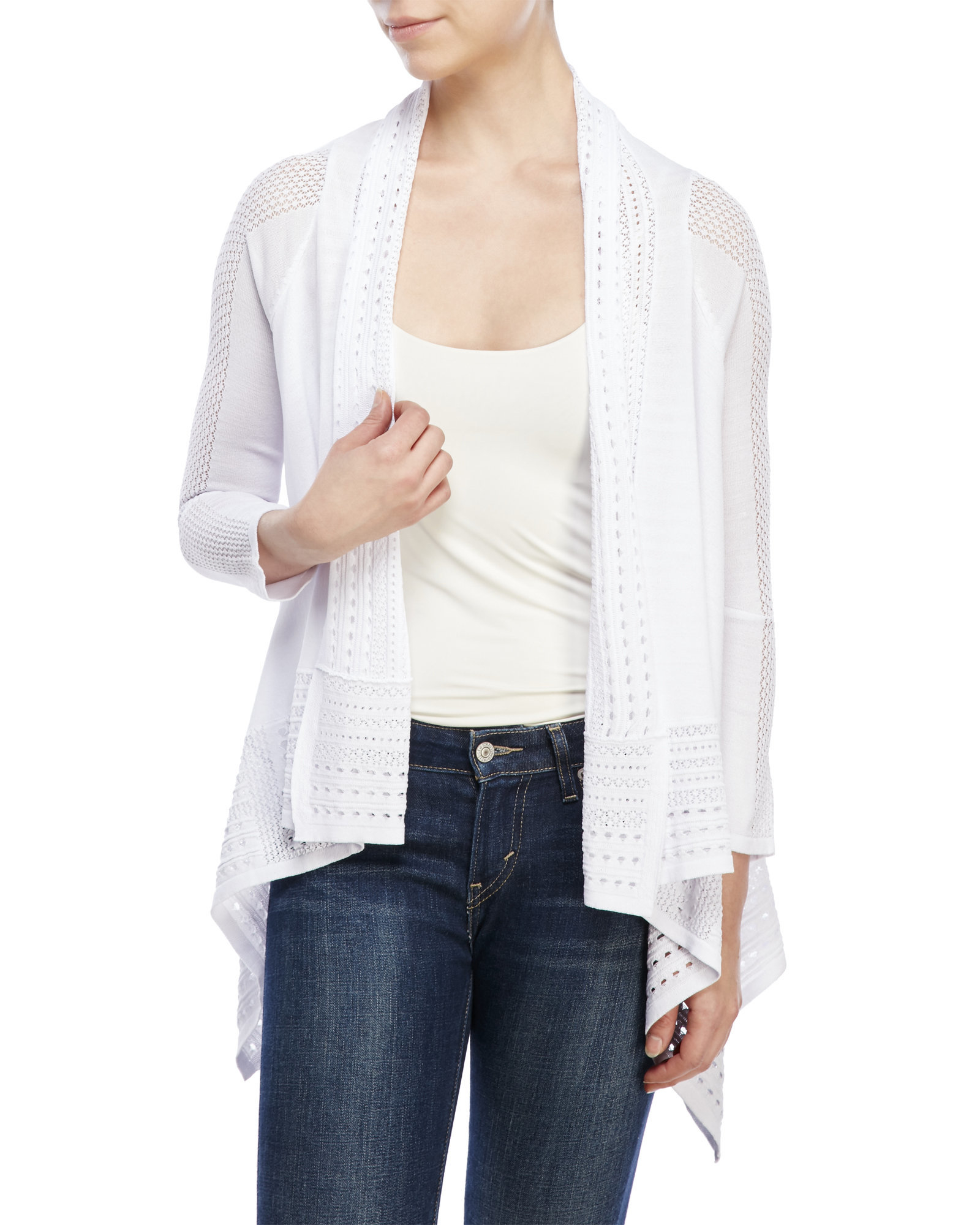 Lyst - Cable & Gauge Drape Front Cardigan in White