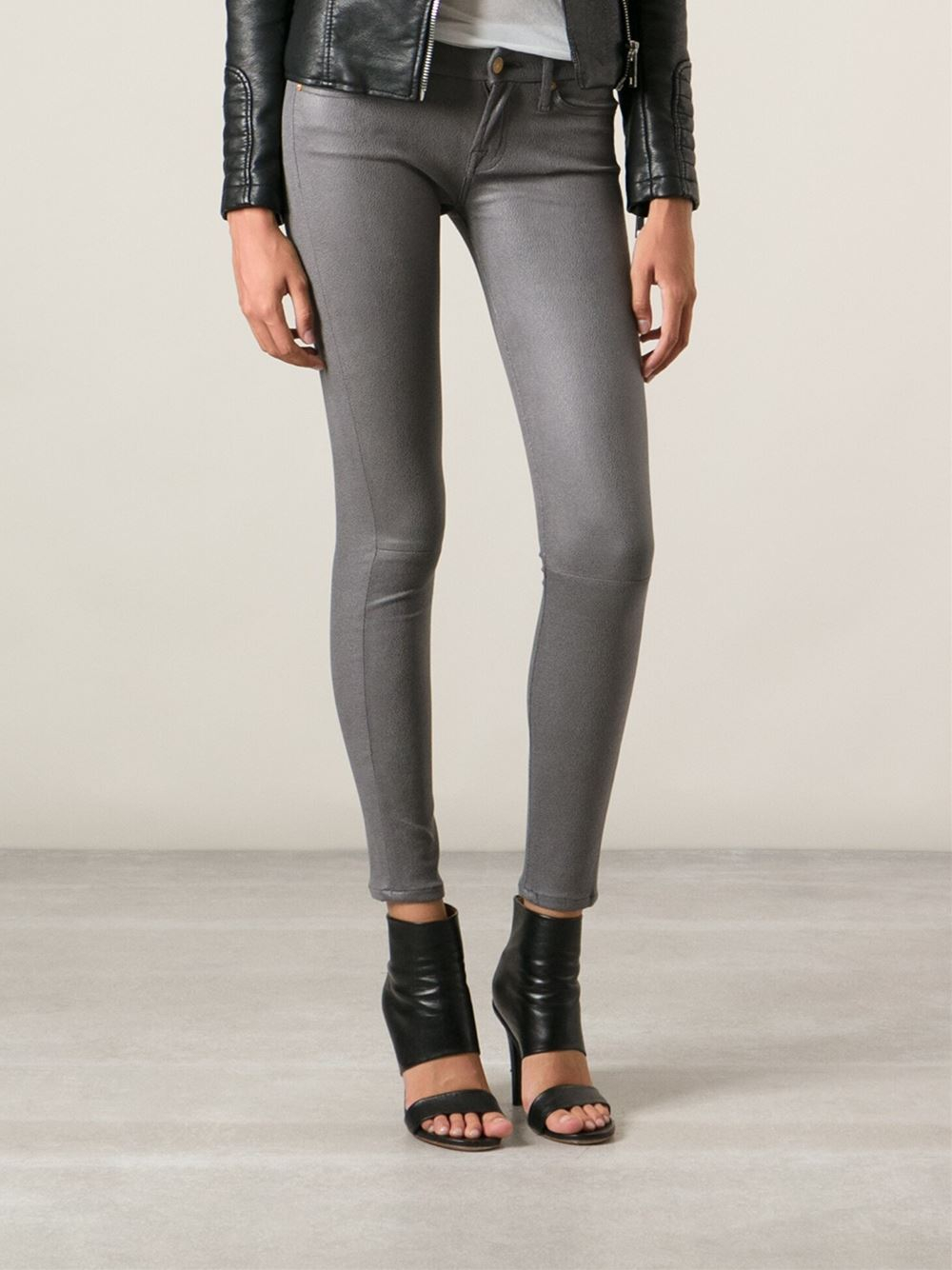 lyst  7 for all mankind coated skinny jeans in gray