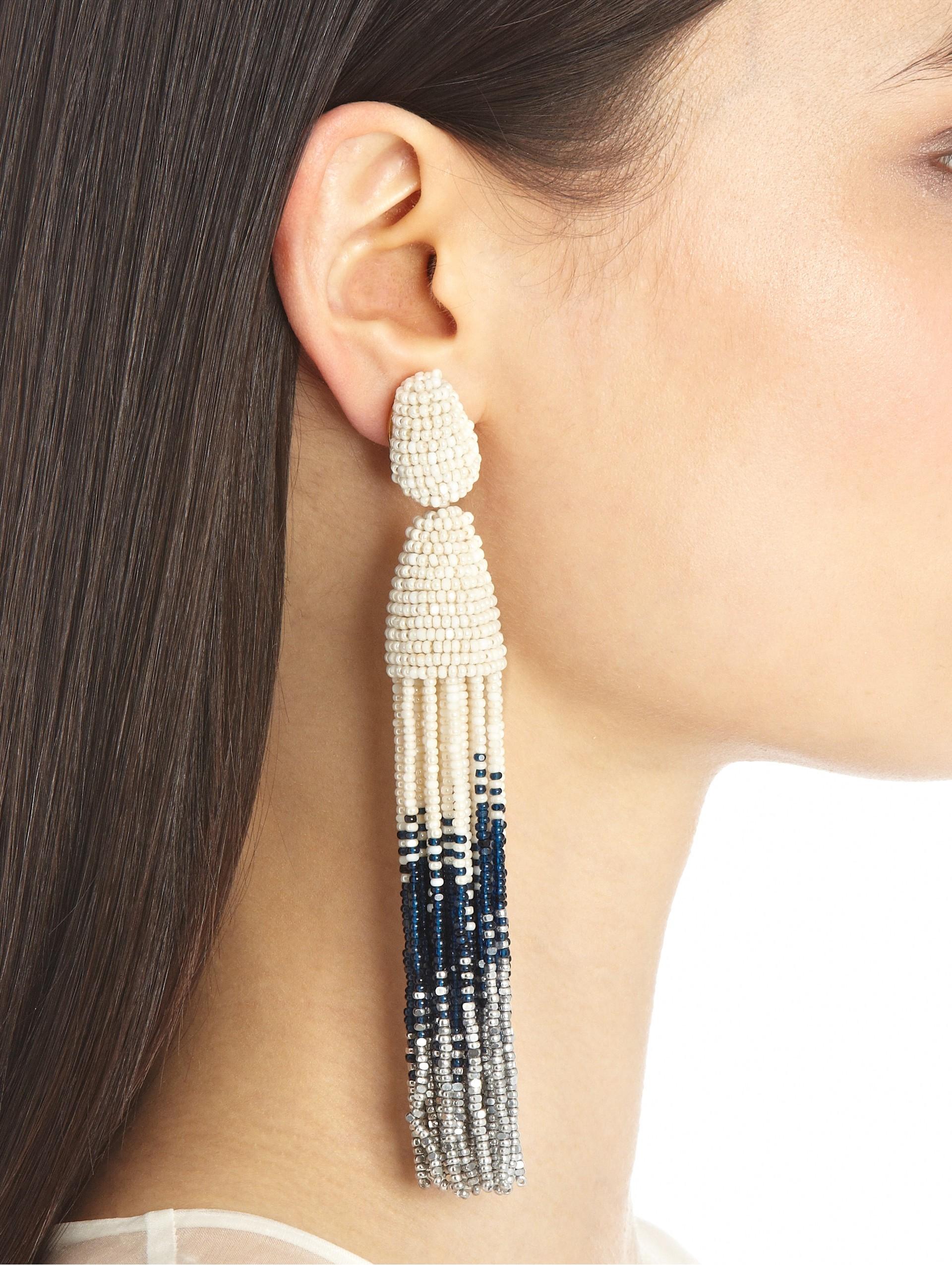 beaded tassel earrings - Black Oscar De La Renta RDavaRl