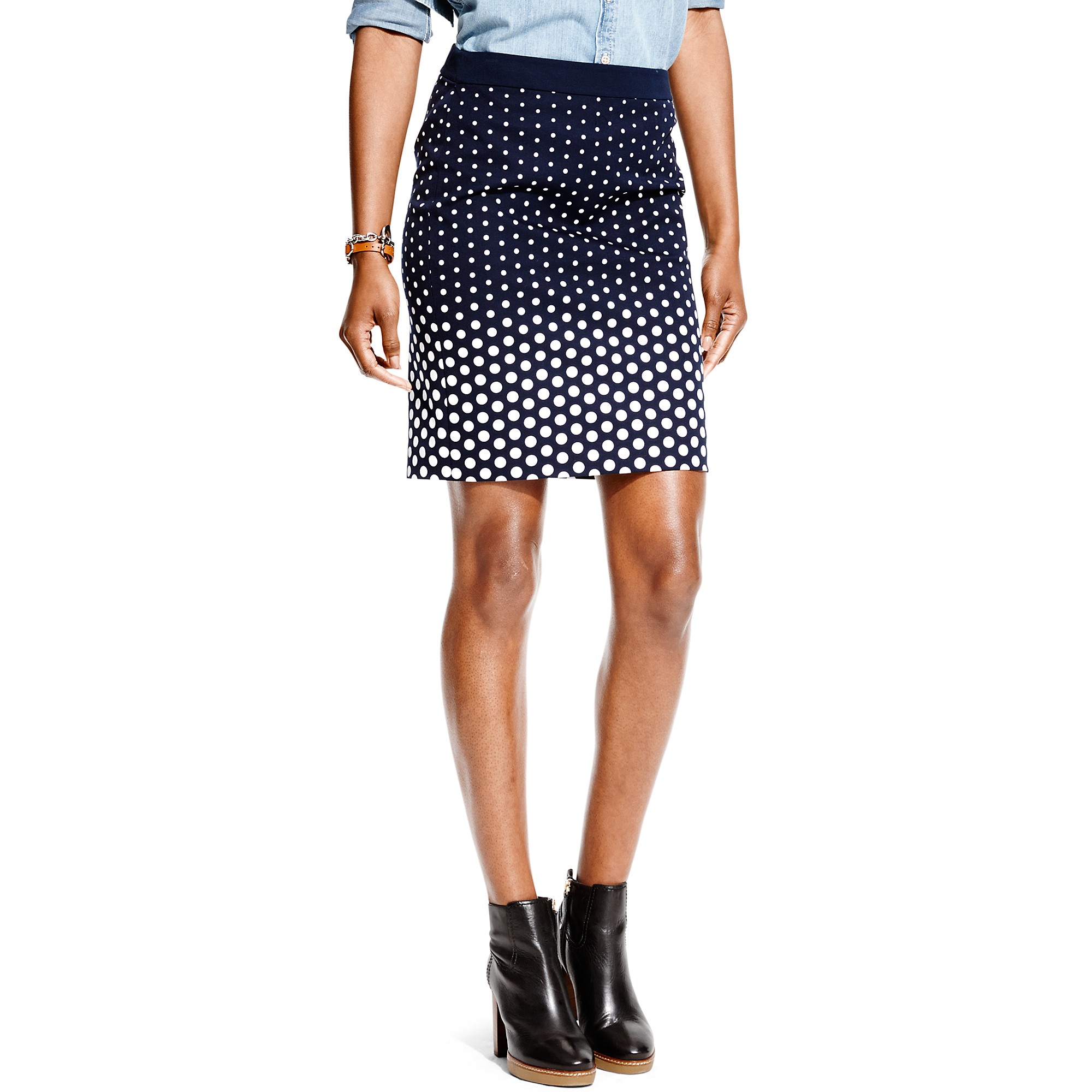 hilfiger ombre dot pencil skirt in blue navy