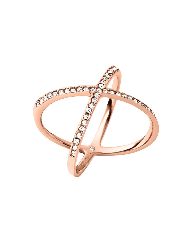 michael kors rose golden pave x ring in pink lyst. Black Bedroom Furniture Sets. Home Design Ideas
