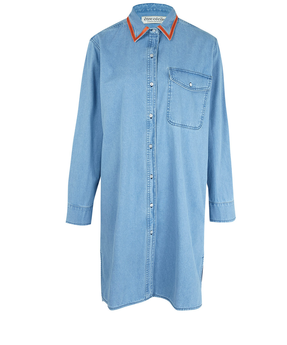 Tre C Cile Light Blue Oversized Denim Shirt Dress In Blue