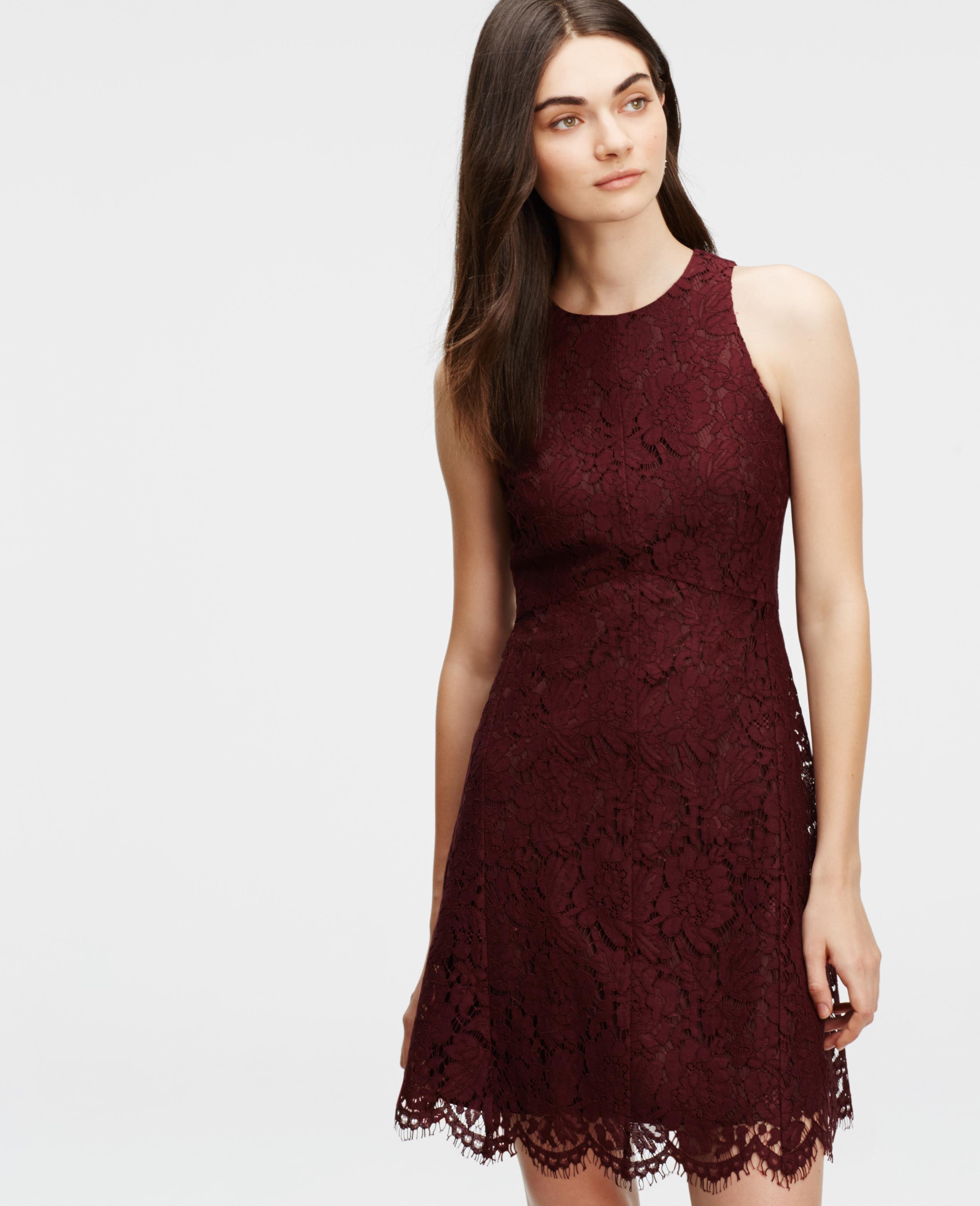 fa681796fd4c Ann Taylor Petite Lace Flare Dress in Purple - Lyst