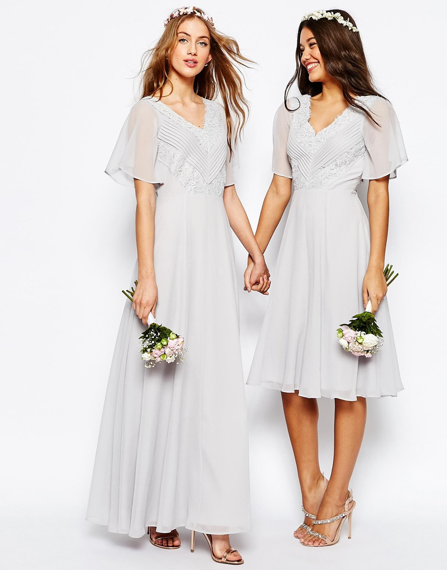Asos wedding lace and pleat maxi dress in white lyst for Dresses for women wedding