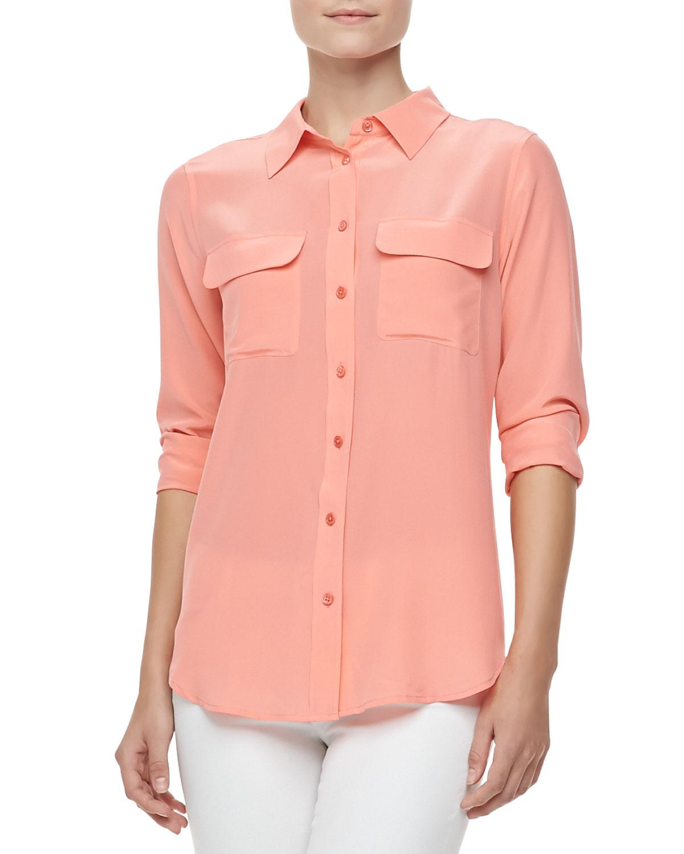 Equipment slim signature silk blouse shell pink in pink lyst for Equipment signature silk shirt