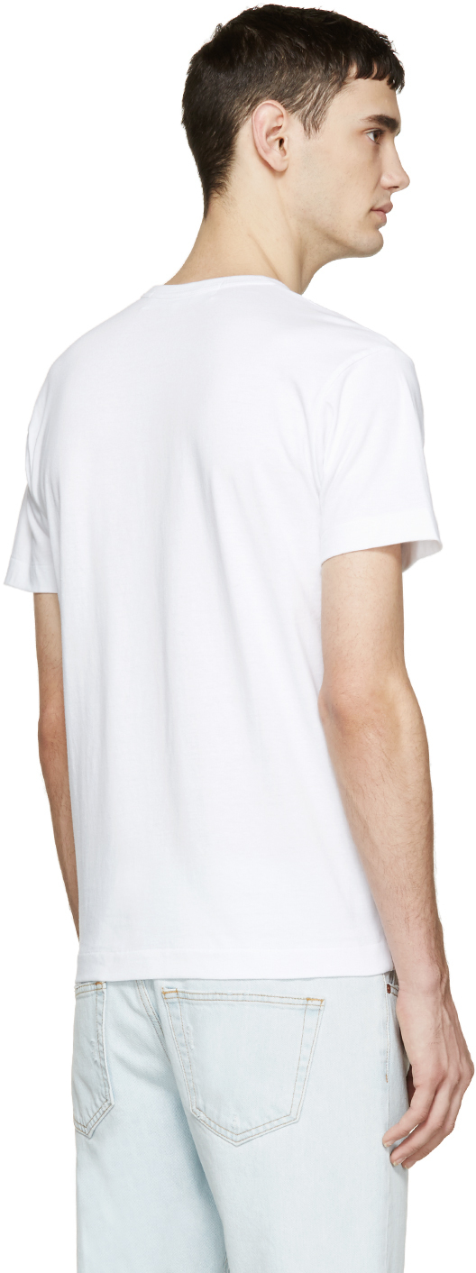 Play Comme Des Gar Ons White Heart Patch T Shirt In White