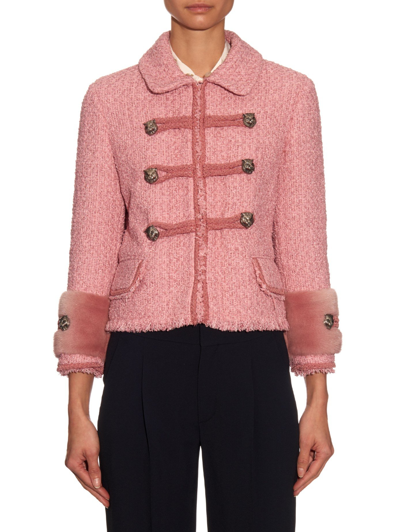Gucci Mink-Fur and Tweed Jacket in Pink | Lyst