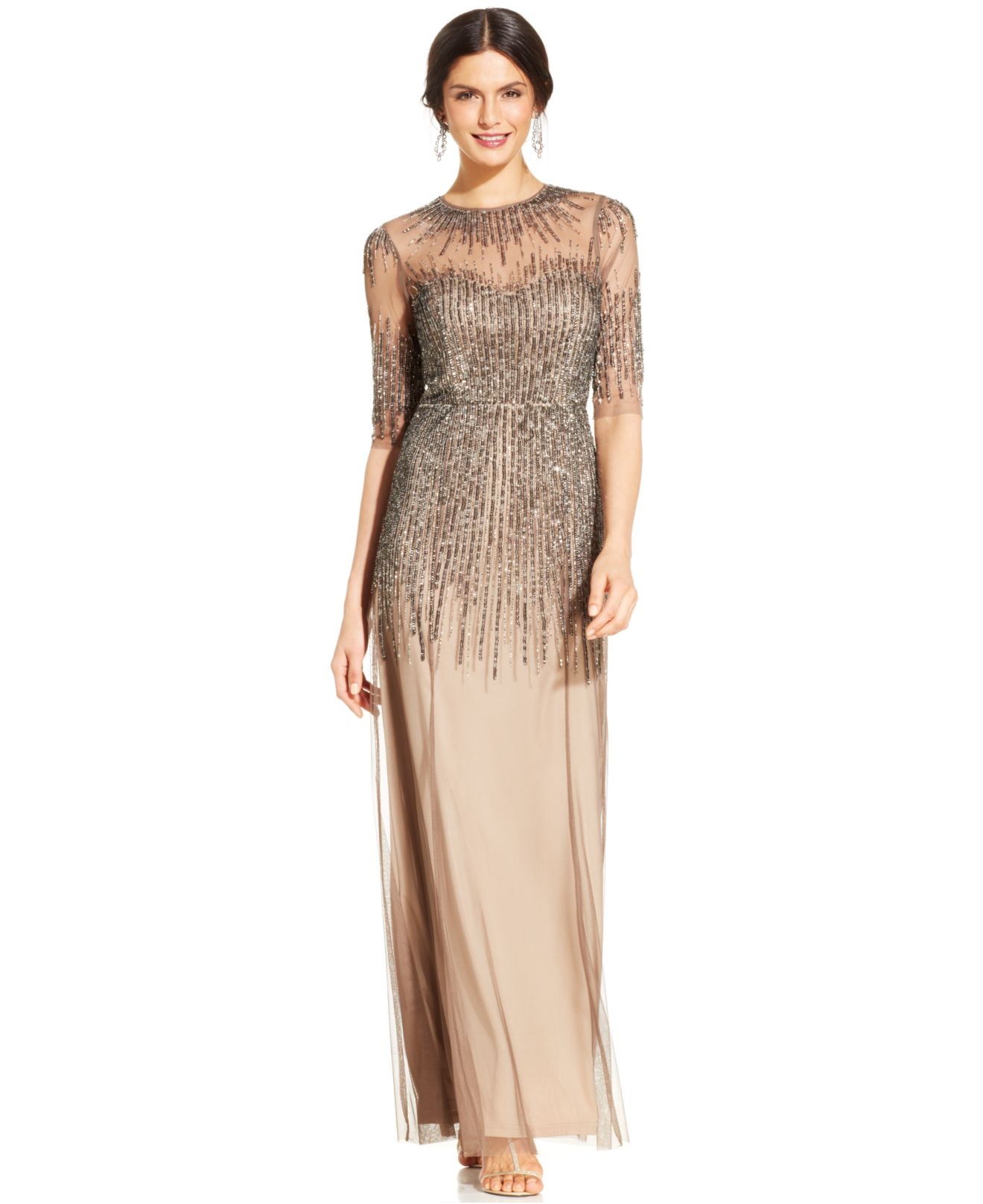Lyst - Adrianna Papell Elbow-sleeve Illusion Embellished Gown in Gray