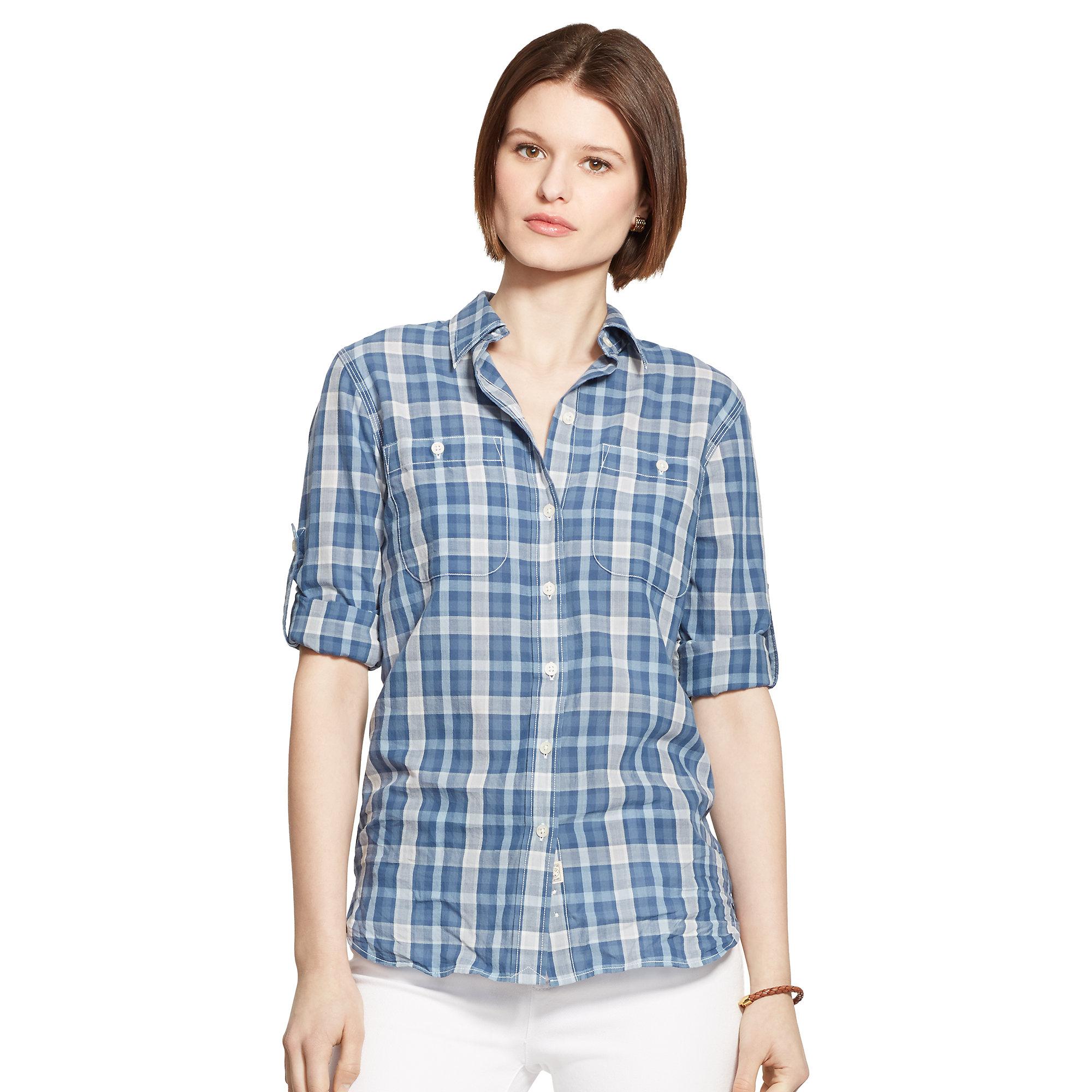 lyst ralph lauren plaid cotton shirt in blue. Black Bedroom Furniture Sets. Home Design Ideas