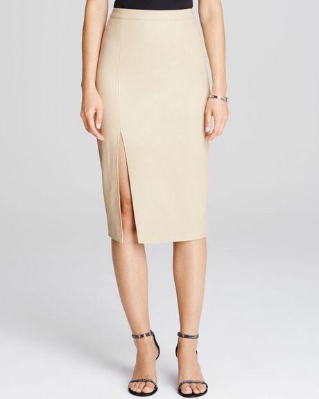 bardot faux leather side slit pencil skirt in beige