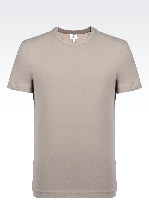 armani t shirt in single jersey in beige for men sand lyst. Black Bedroom Furniture Sets. Home Design Ideas
