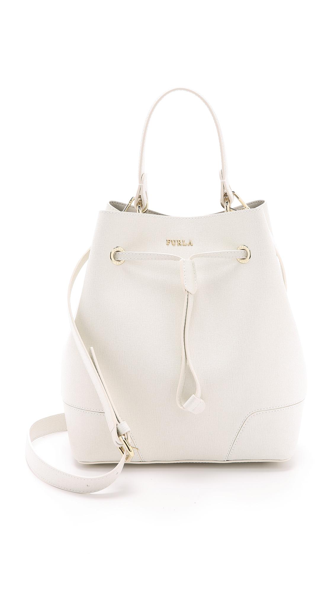 Furla Stacy Drawstring Bucket Bag White