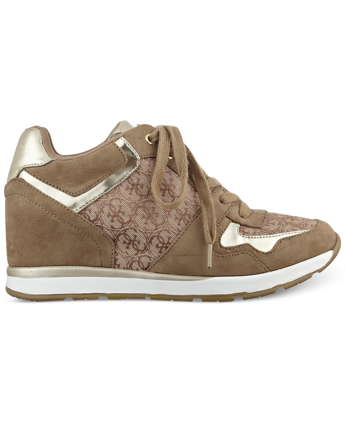 guess womens laceyy laceup wedge sneakers in beige