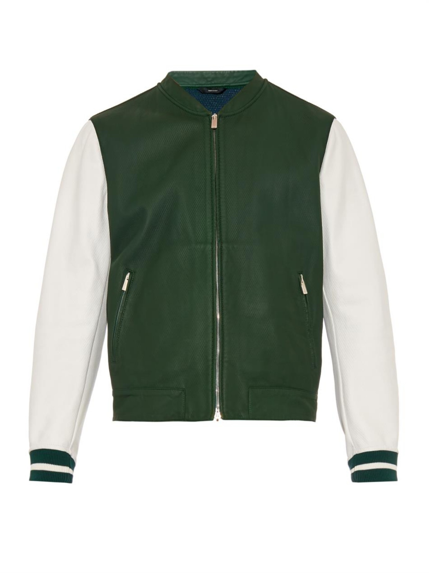 Fendi Leather Baseball Jacket in Green for Men | Lyst