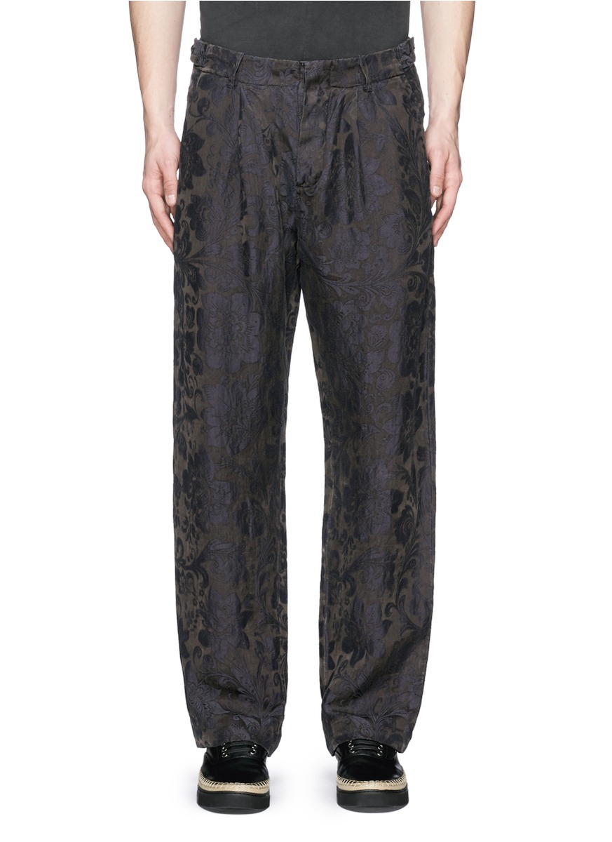 Uma Wang Claudio Floral Jacquard Pants In Black For Men