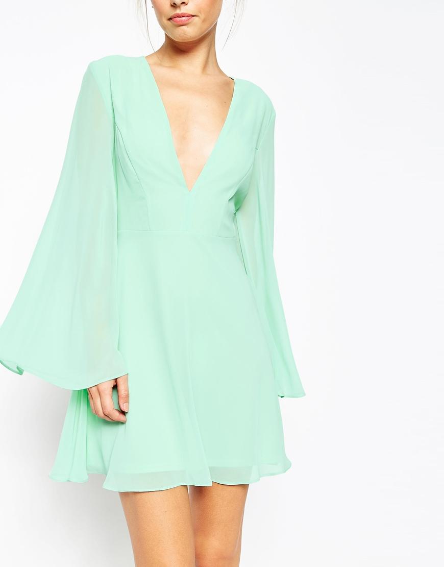 1691de52f70 ASOS Kaftan Sleeve Mini Skater Dress in Green - Lyst