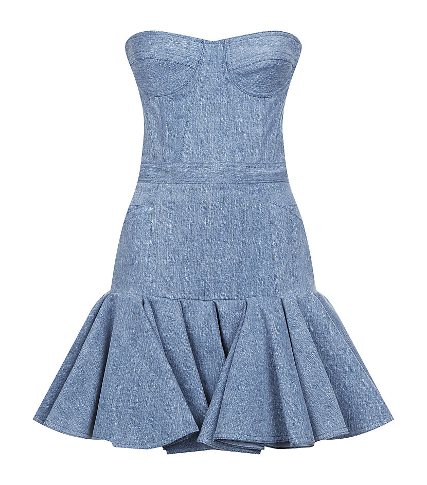Balmain Flared Strapless Denim Dress in Blue  Lyst