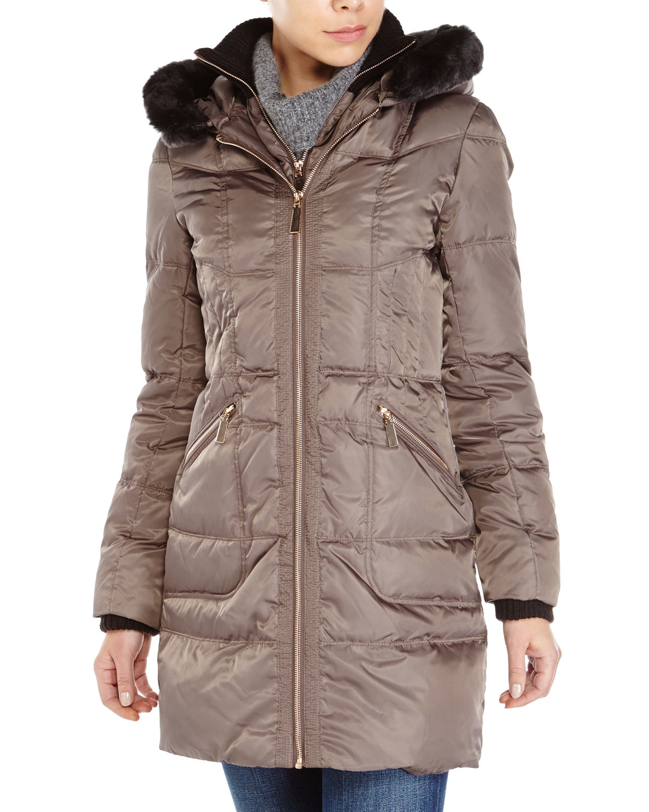 Lyst Vince Camuto Faux Fur Trim Hooded Down Coat In Metallic