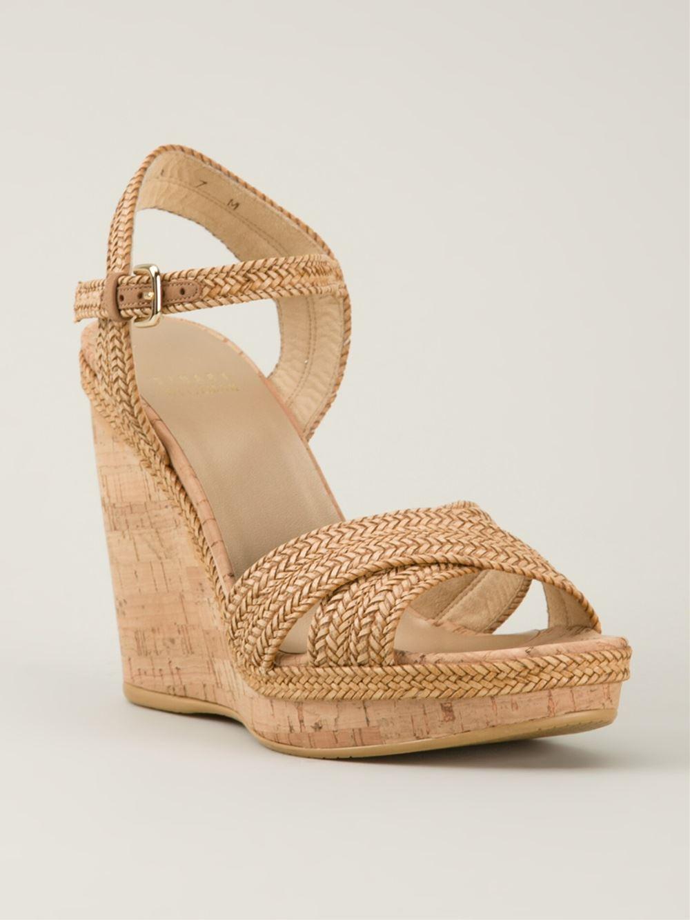 Lyst Stuart Weitzman Minx Wedged Sandals In Natural