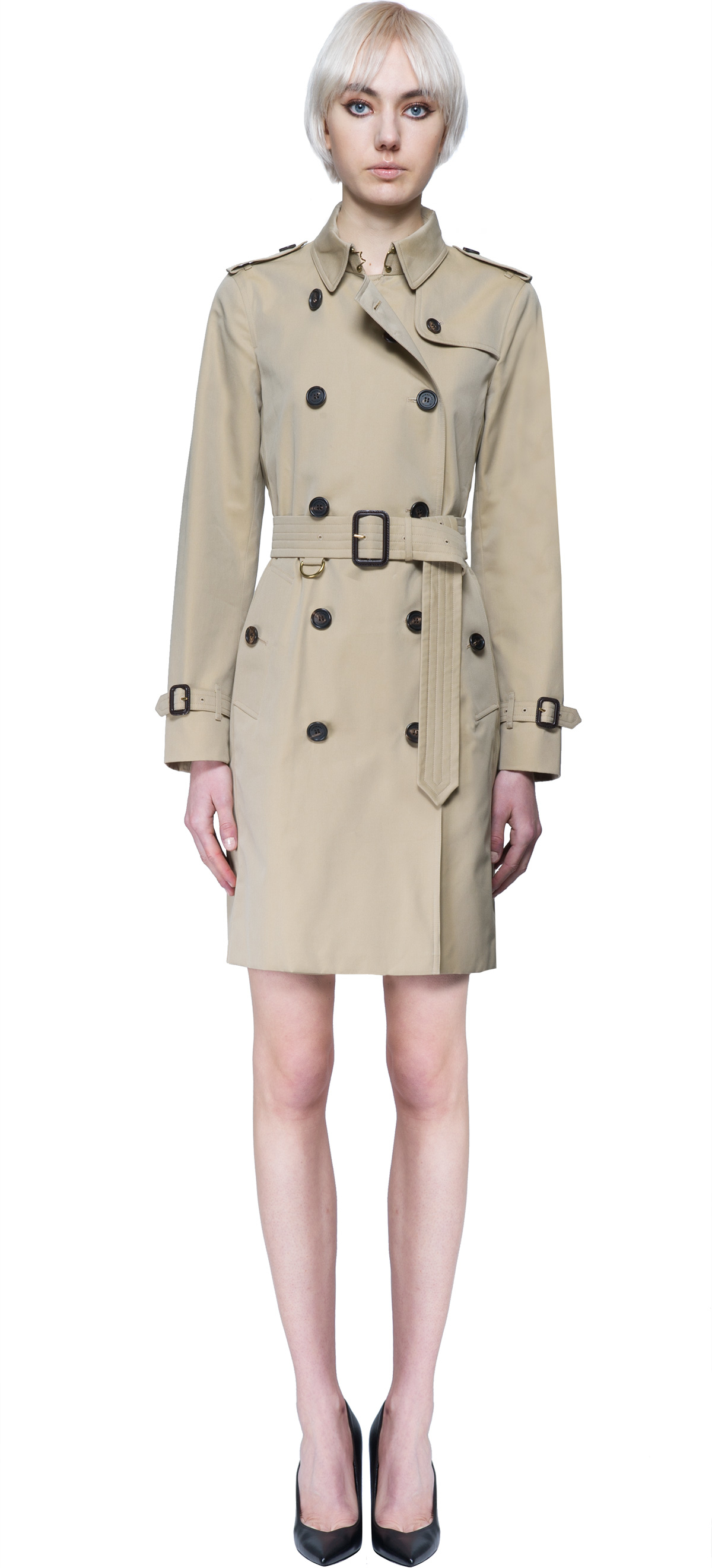 Burberry sandringham trench coat in natural lyst for Burberry shirt size chart
