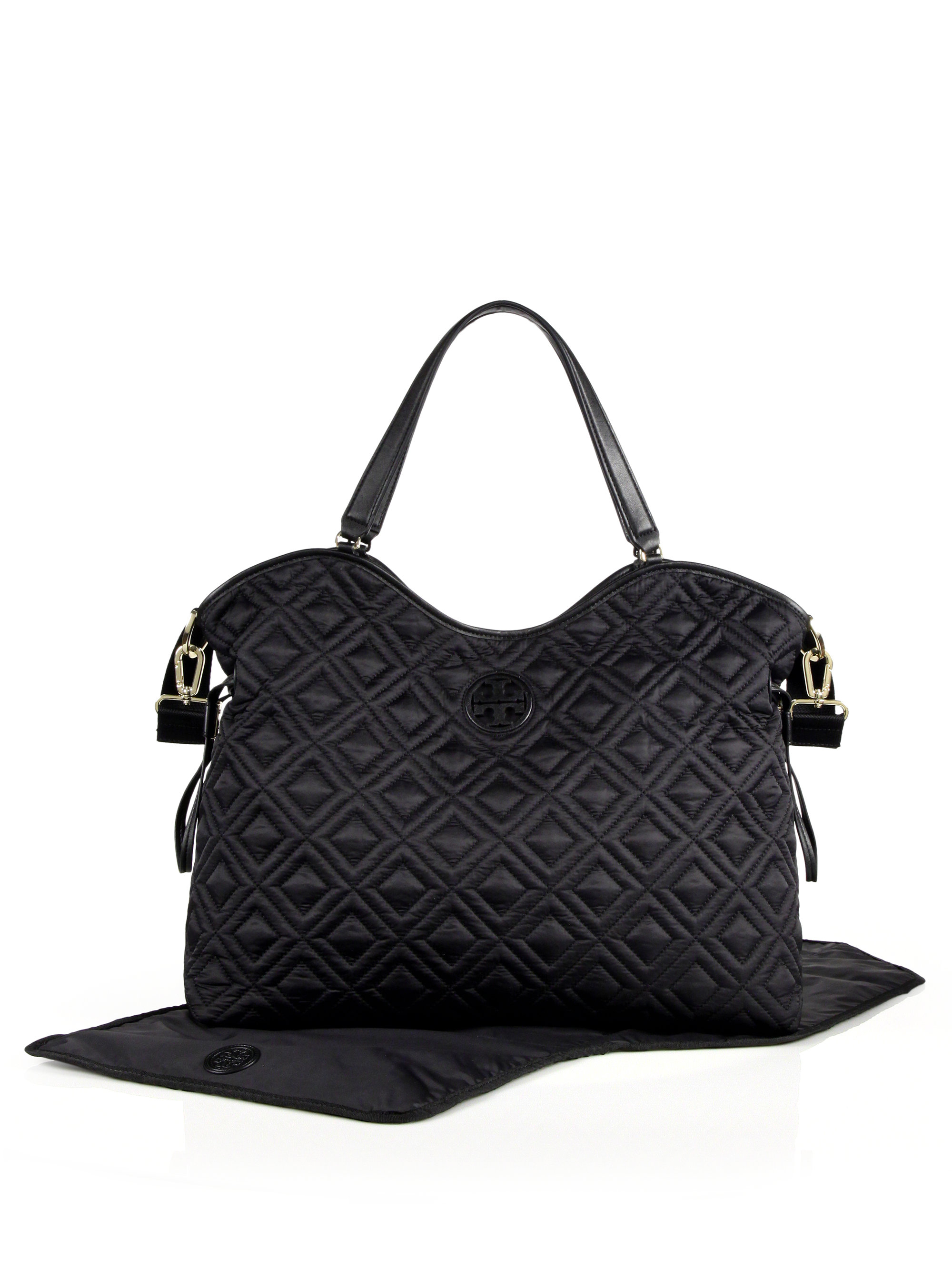 91811a87042 Lyst - Tory Burch Marion Quilted Nylon Baby Bag in Black