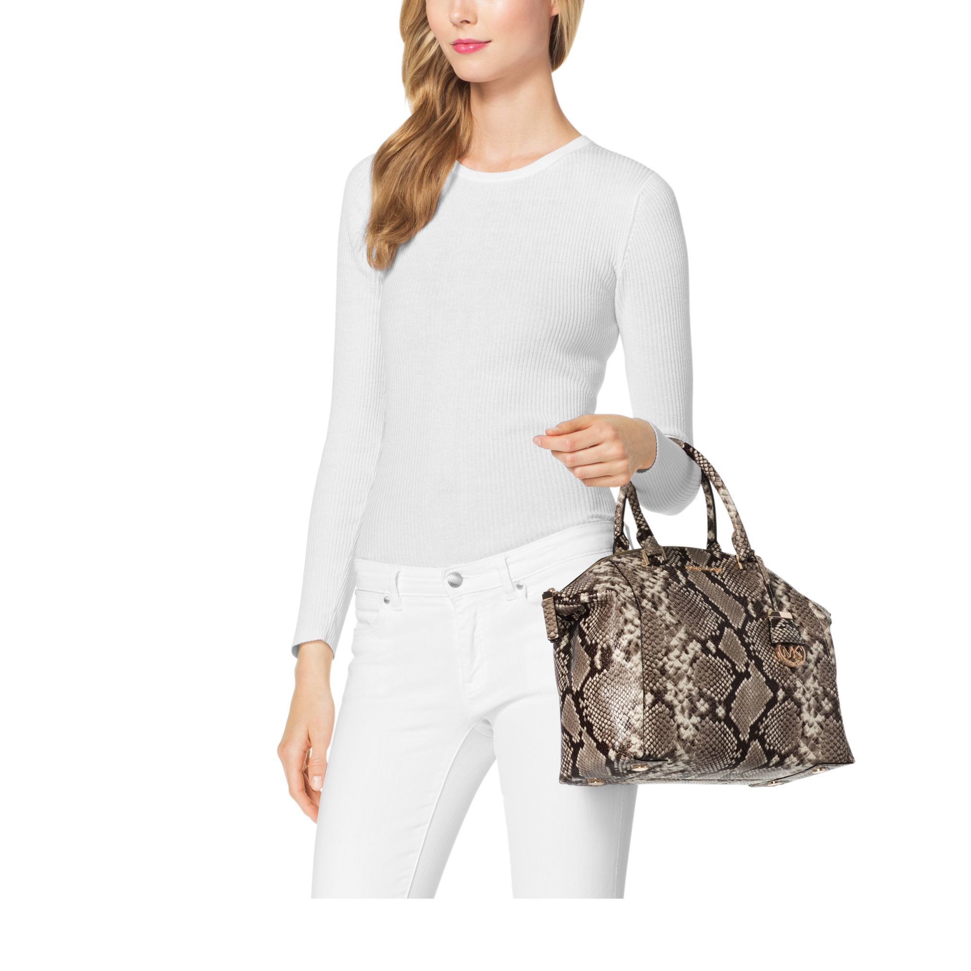 Michael Kors Riley Laukku : Michael kors riley large embossed leather satchel in